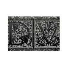 DV initials. Vintage, Floral Rectangle Magnet