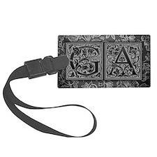 GA initials. Vintage, Floral Luggage Tag