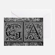 GA initials. Vintage, Floral Greeting Card