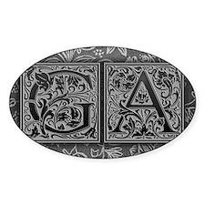 GA initials. Vintage, Floral Decal