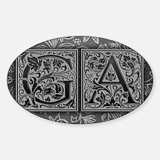 GA initials. Vintage, Floral Sticker (Oval)