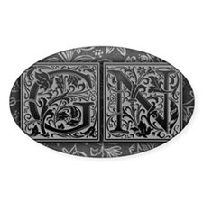 GN initials. Vintage, Floral Decal