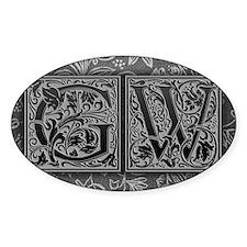 GW initials. Vintage, Floral Decal