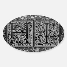 HI initials. Vintage, Floral Sticker (Oval)
