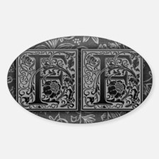 FF initials. Vintage, Floral Decal