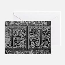 FJ initials. Vintage, Floral Greeting Card
