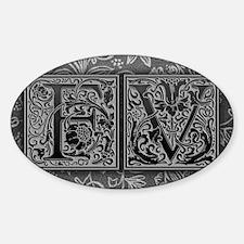 FV initials. Vintage, Floral Sticker (Oval)
