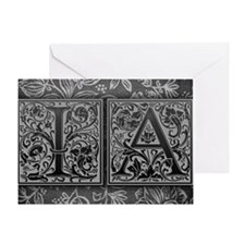 IA initials. Vintage, Floral Greeting Card