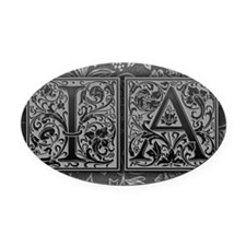 IA initials. Vintage, Floral Oval Car Magnet