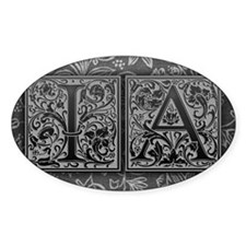 IA initials. Vintage, Floral Decal