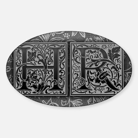 HR initials. Vintage, Floral Sticker (Oval)