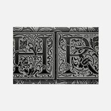 HR initials. Vintage, Floral Rectangle Magnet