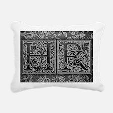 HR initials. Vintage, Fl Rectangular Canvas Pillow