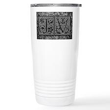 JV initials. Vintage, Floral Travel Mug