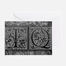 IQ initials. Vintage, Floral Greeting Card
