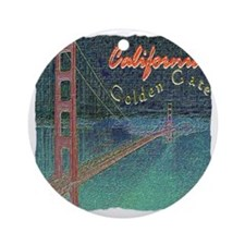 california golden gate pencil effec Round Ornament
