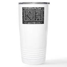 KH initials. Vintage, Floral Travel Mug