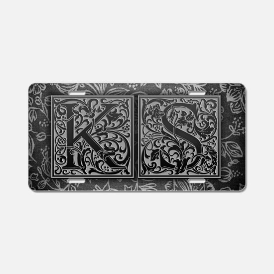 KS initials. Vintage, Flora Aluminum License Plate