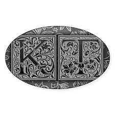 KT initials. Vintage, Floral Decal