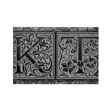 KT initials. Vintage, Floral Rectangle Magnet