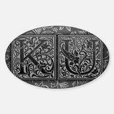 KU initials. Vintage, Floral Decal