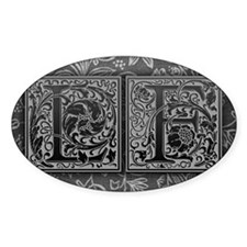 LF initials. Vintage, Floral Decal