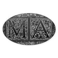 MA initials. Vintage, Floral Decal