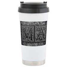 MA initials. Vintage, Floral Travel Mug
