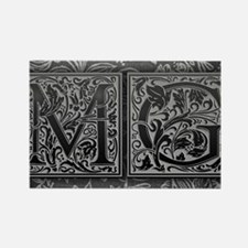 MG initials. Vintage, Floral Rectangle Magnet