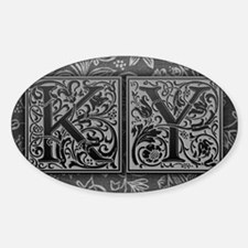 KY initials. Vintage, Floral Decal