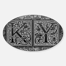 KY initials. Vintage, Floral Sticker (Oval)