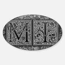 MI initials. Vintage, Floral Decal