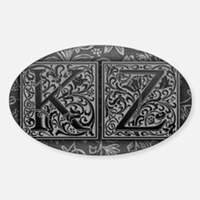 KZ initials. Vintage, Floral Decal