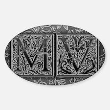 MV initials. Vintage, Floral Decal