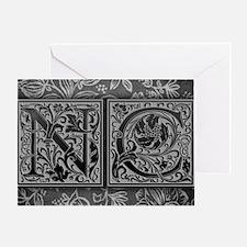 NC initials. Vintage, Floral Greeting Card