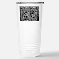 NC initials. Vintage, Floral Travel Mug