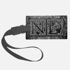 ND initials. Vintage, Floral Luggage Tag