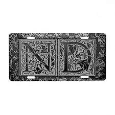 ND initials. Vintage, Flora Aluminum License Plate