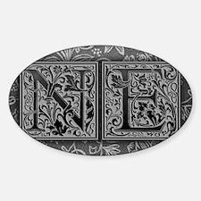 NE initials. Vintage, Floral Sticker (Oval)