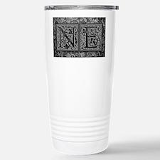 NE initials. Vintage, Floral Travel Mug