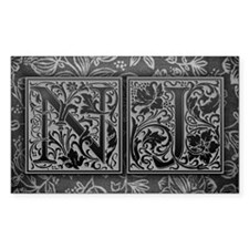 NJ initials. Vintage, Floral Decal