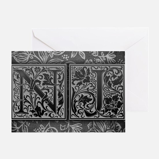NJ initials. Vintage, Floral Greeting Card