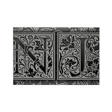 NJ initials. Vintage, Floral Rectangle Magnet