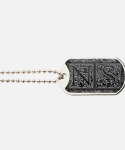 NS initials. Vintage, Floral Dog Tags