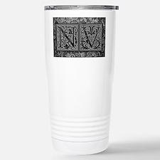 NV initials. Vintage, Floral Travel Mug