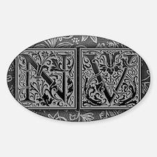 NV initials. Vintage, Floral Sticker (Oval)