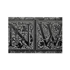 NW initials. Vintage, Floral Rectangle Magnet