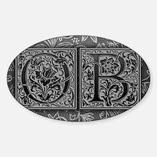 OB initials. Vintage, Floral Decal