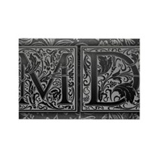 MD initials. Vintage, Floral Rectangle Magnet
