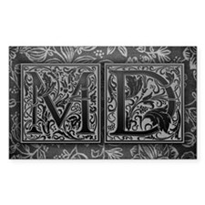 MD initials. Vintage, Floral Decal